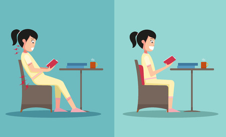 good health: The sample of the guy sitting in wrong and right ways, illustration, vector Illustration