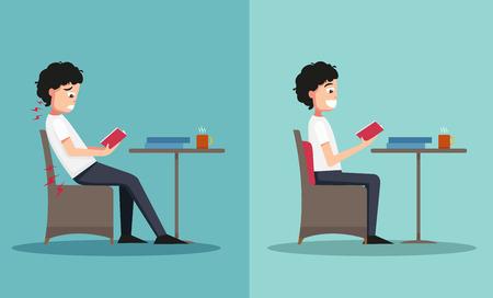 間違っていると右の方法、イラスト、ベクトルに座っている男のサンプル  イラスト・ベクター素材