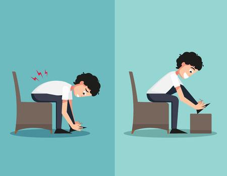 buena postura: Mejores y peores posiciones para cordón de zapato, ilustración, vector
