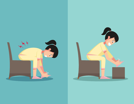 worst: Best and worst positions for shoe lace, illustration, vector