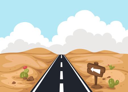 Woestijn landschap met weg, illustratie, vector