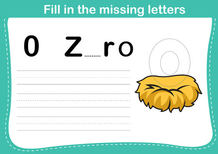 fill in: Fill in the missing letters,illustration, vector Illustration