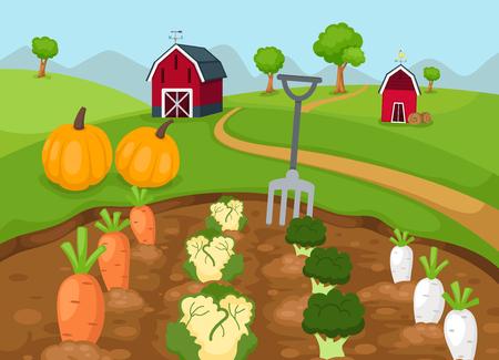 農村風景のベクターのイラスト