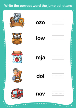 school kids: Write the correct word the jumbled letters,illustration, vector