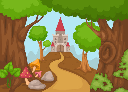 tall: Illustration of a castle in forest vector Illustration