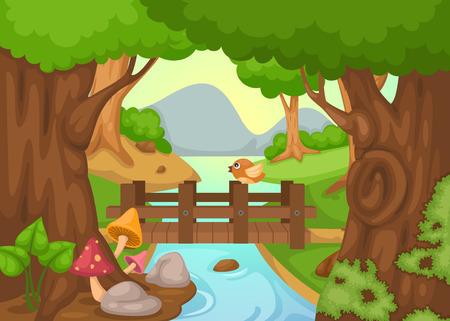 arboles caricatura: ejemplo de bosque con un vector de fondo de río