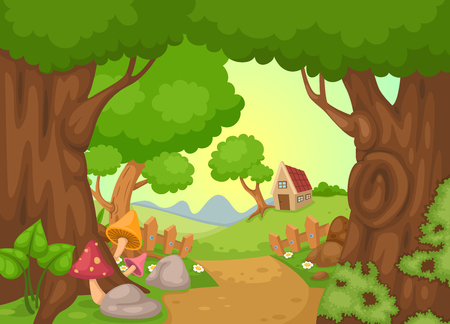 landscape: illustration of rural landscape vector Illustration