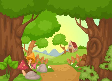 paisaje: ilustración de vector de paisaje rural Vectores