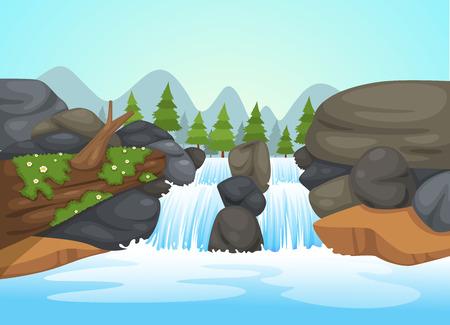 illustration of waterfall landscape vector  イラスト・ベクター素材