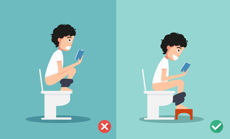 defecation: unhealthy vs healthy positions for defecate illustration, vector