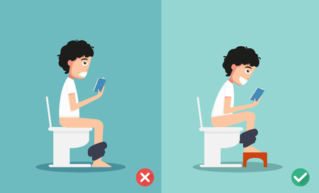 a toilet seat: unhealthy vs healthy positions for defecate illustration, vector