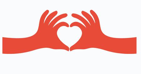 心臓の図の形で手のベクトルします。