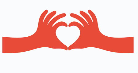hands in the form of heart illustration, vector Stock Illustratie