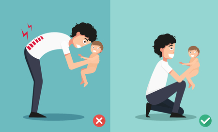 holding back: Best and worst positions for holding little baby illustration, vector