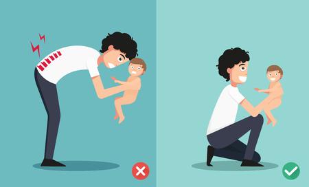 dolor muscular: Mejores y peores posiciones para que detiene al pequeño bebé ilustración, vector