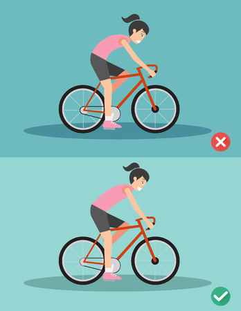 Best and worst positions for riding bike illustration, vector