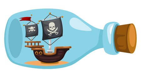yacht: Pirate ship in bottle,vector illustration Illustration