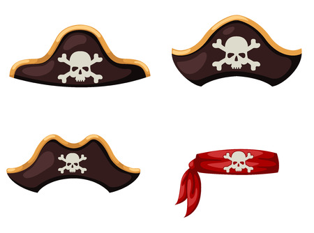 skeleton cartoon: pirate hat vector