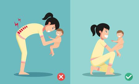 乳幼児: 最高の最悪の小さな赤ちゃんの図を保持するための位置ベクトル  イラスト・ベクター素材