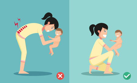 cartoon accident: Best and worst positions for holding little baby illustration, vector
