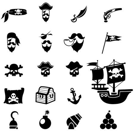 isla del tesoro: piratas iconos conjunto de vectores