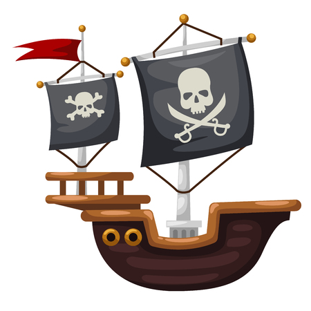 schooner: Pirate ship vector illustration
