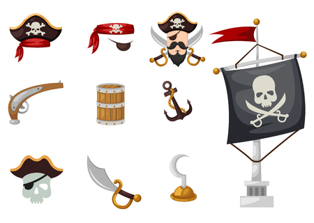 pirate treasure: pirates set vector