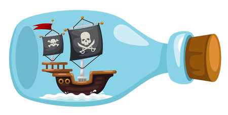 bottles: Pirate ship in bottle,vector illustration Illustration