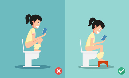 defecate: unhealthy vs healthy positions for defecate illustration, vector
