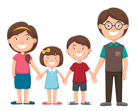 Happy family illustration, vector  イラスト・ベクター素材