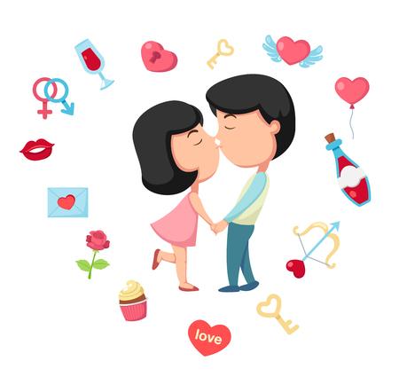 ragazza innamorata: Bacio illustrazione, vettore