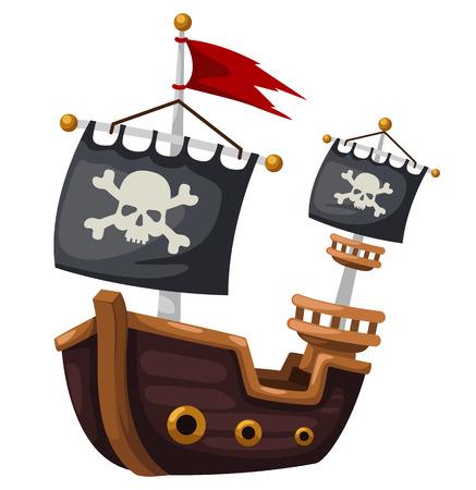 barco caricatura: Barco pirata ilustración vectorial