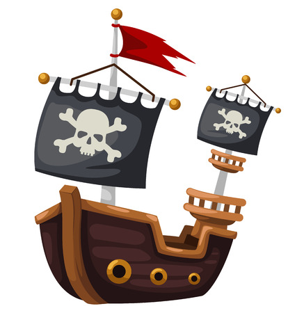 pirate skull: Pirate ship vector illustration
