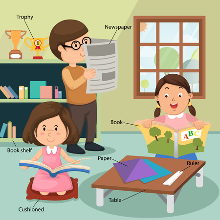 woman reading book: children reading the book at home with related vocabulary index illustration, vector