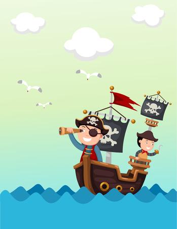 barche: nave pirata vettore splendido paesaggio, illustrazione.