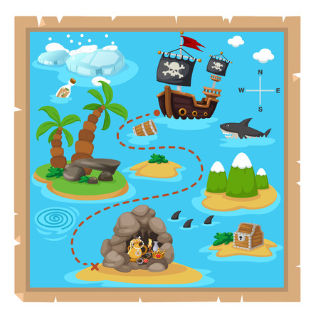 ancient ships: Treasure map vector illustration.