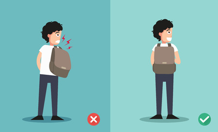caucasian man: wrong and right ways for backpack standing illustration, vector