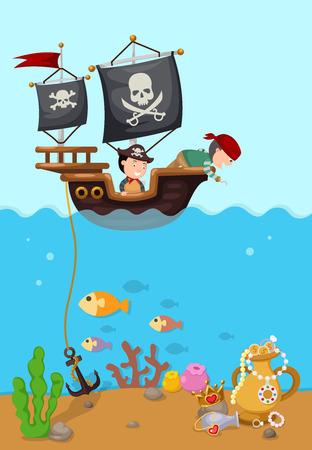 pirate ship beautiful landscape vector,illustration.