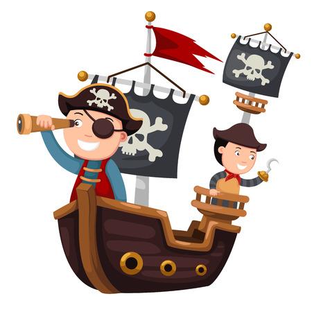 calavera pirata: Barco pirata ilustración vectorial