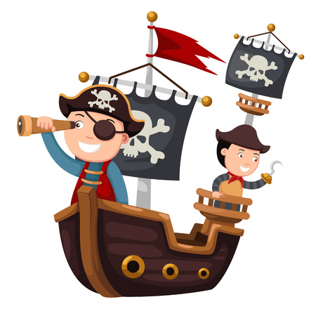pirate flag: Pirate ship vector illustration