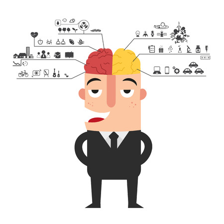 businessman with left and right brain functions icon vector