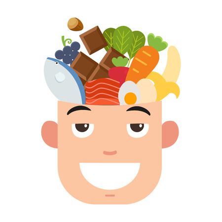 brain: Brain power food,vector illustration Illustration