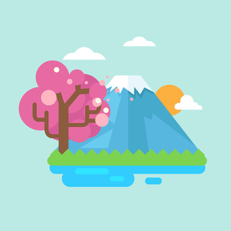 snowcapped landscape: mount fuji with cherry blossoms.vector illustration