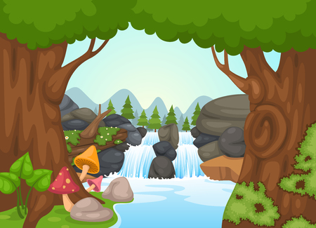 forest landscape: illustration of waterfall landscape vector Illustration
