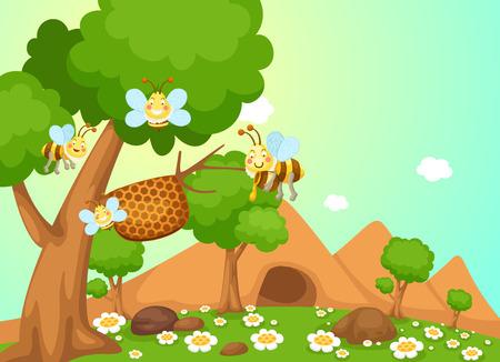 nectars: illustration of honey bee vector