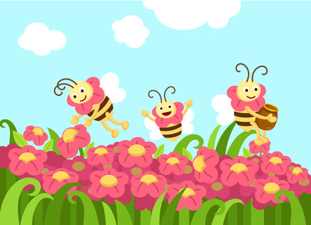 Illustration of bees looking for foods vector