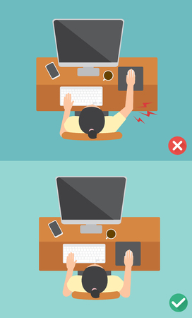 correct: The sample of the guy sitting in wrong and right ways, illustration, vector Illustration