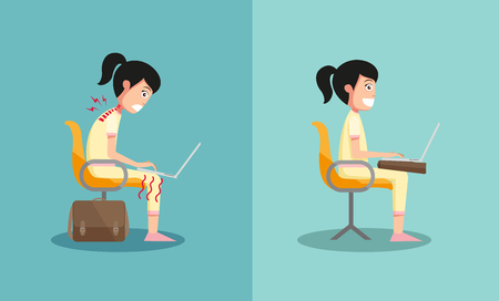 position: The sample of the guy sitting in wrong and right ways, illustration, vector Illustration