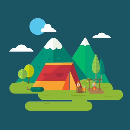 at leisure: Hiking and camping. vector illustration Illustration