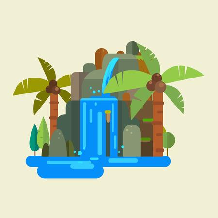 illustration of waterfall vector  イラスト・ベクター素材
